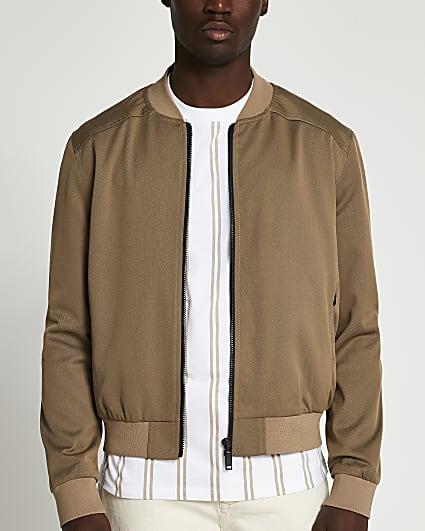 Brown zip thru bomber jacket