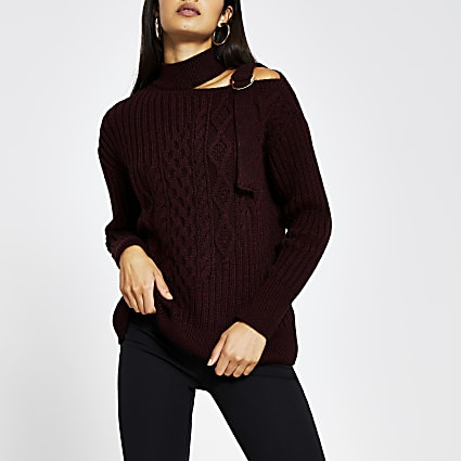 Burgundy cable knit choker neck jumper