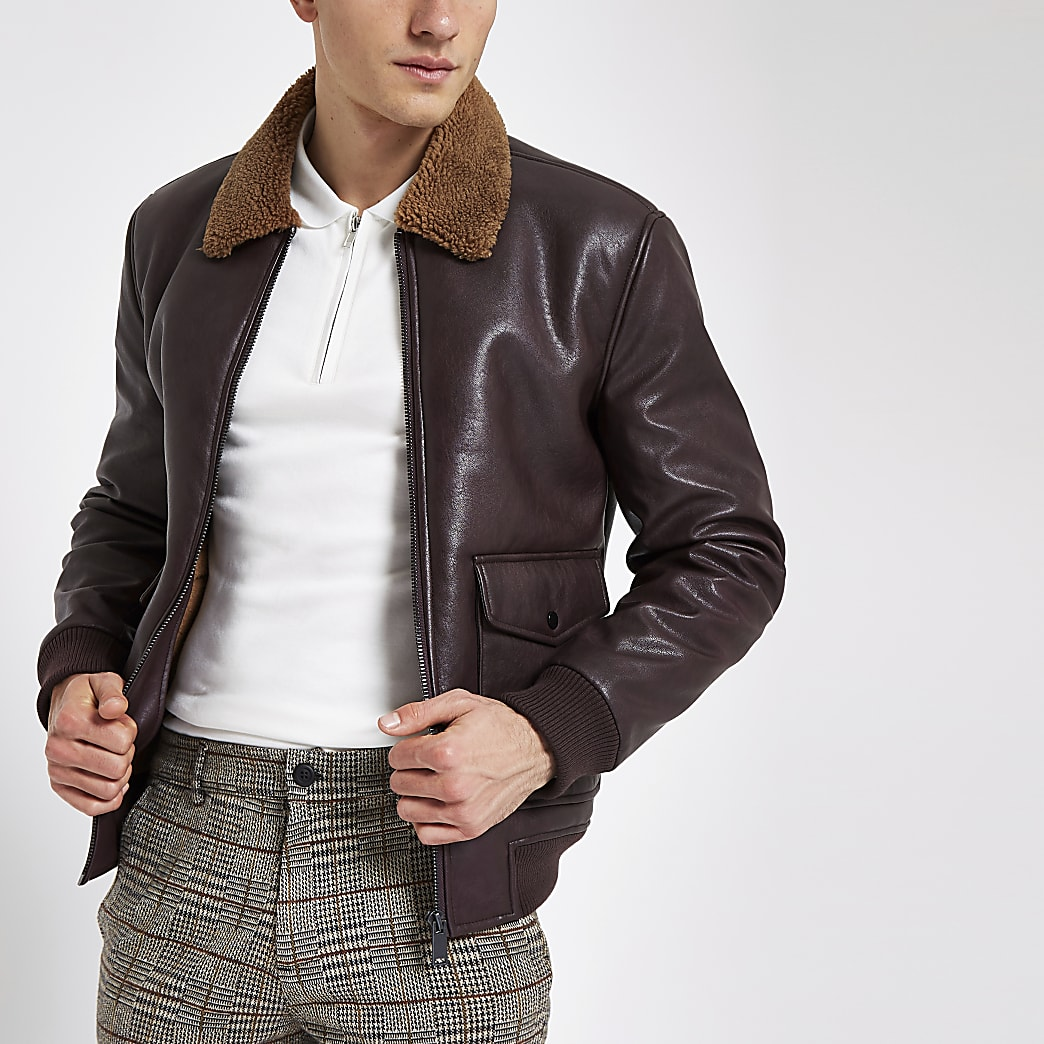 Burgundy faux leather borg collar jacket