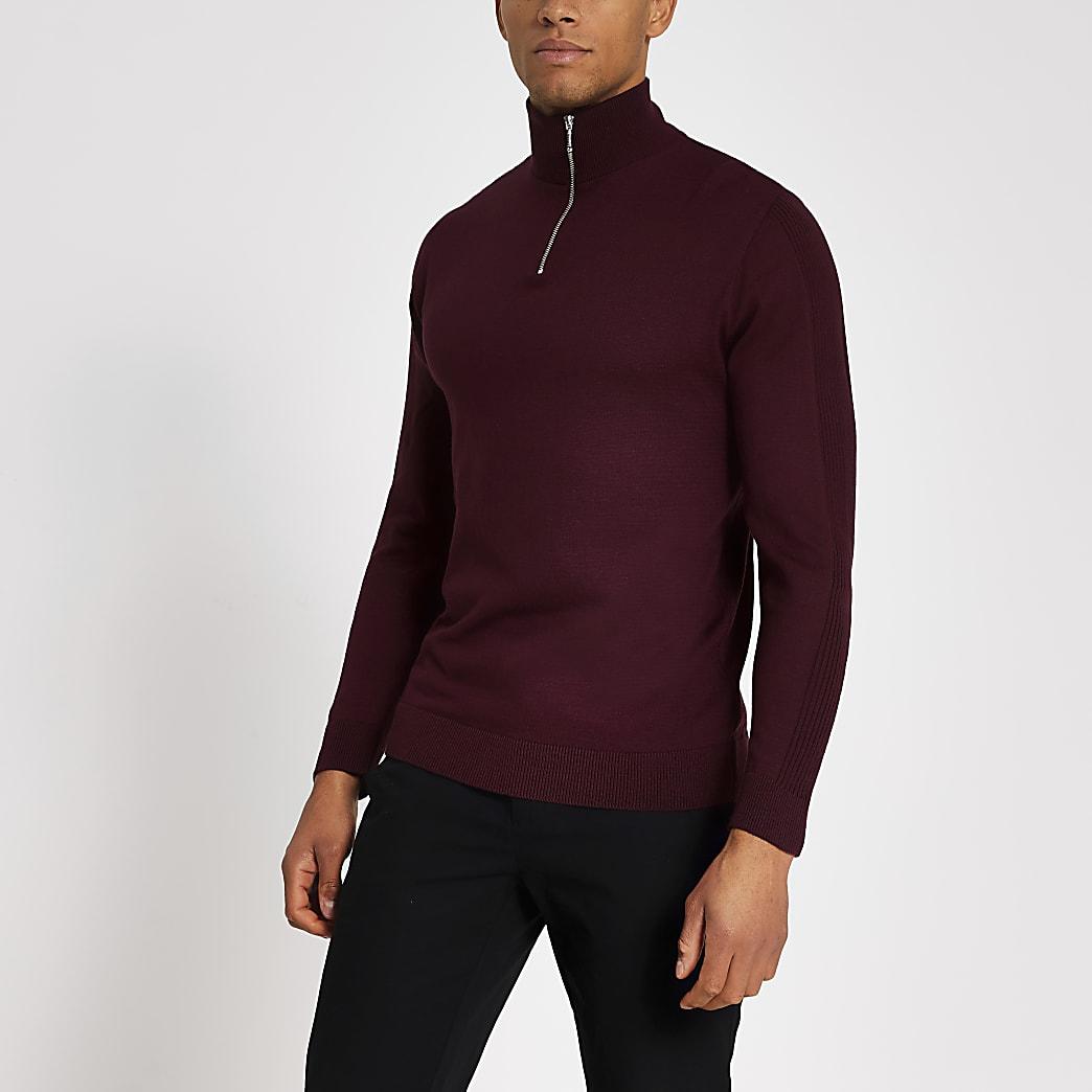 Bordeauxrode gebreide slim-fit trui met halve ritssluiting