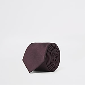 Bordeaux Krawatte mit Fischgrätmuster