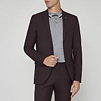 Burgundy skinny fit wool blend suit jacket
