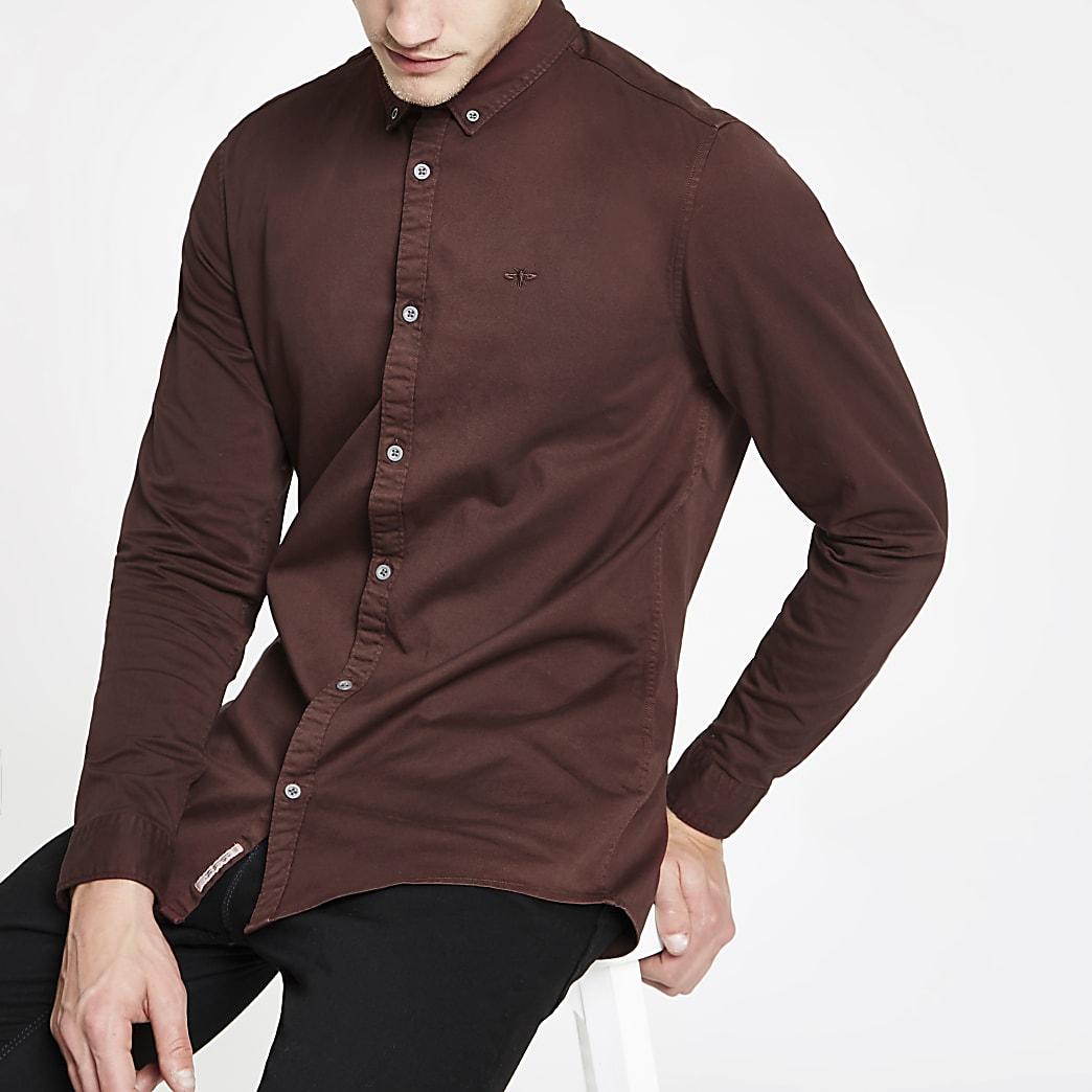 Bordeauxrood overhemd met stretch en lange mouwen