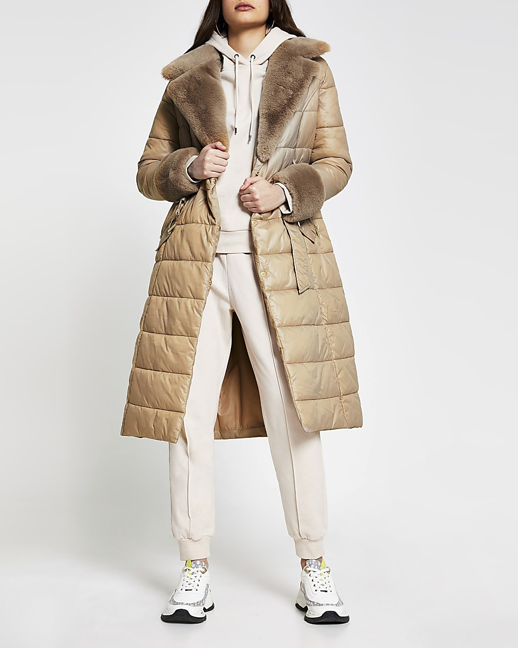 Camel belted fur cuff padded longline jacket