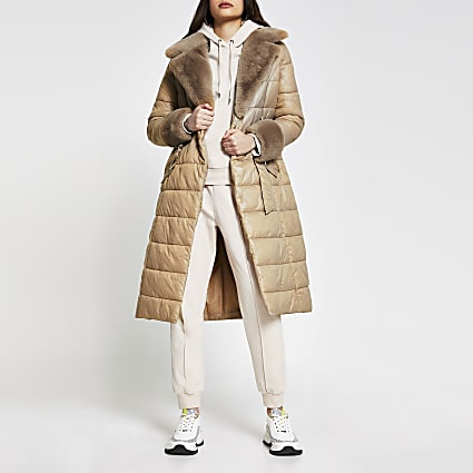 Camel Belted Fur Cuff Padded Longline Jacket