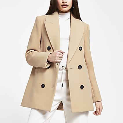 Camel boyfriend blazer coat