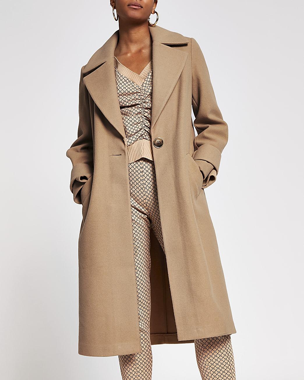 Camel cuff detail long sleeve coat