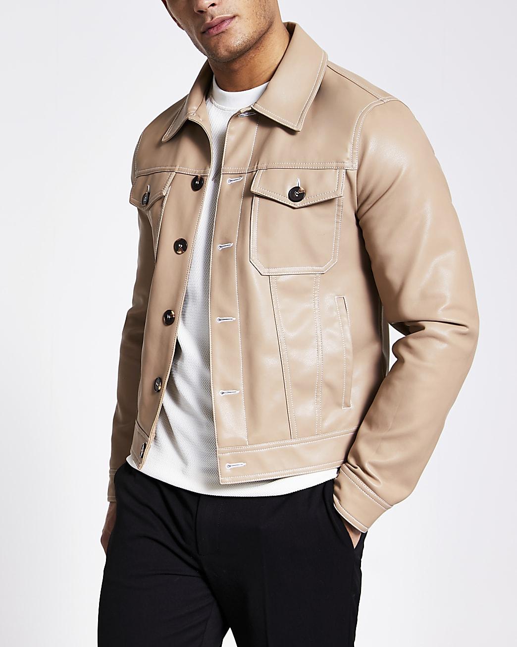 Camel faux leather Western jacket
