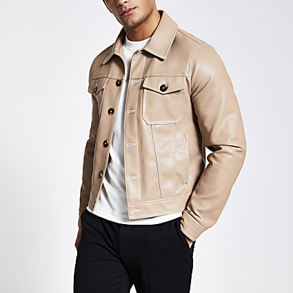 Camel faux leather Western jacket