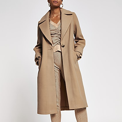 Camel long line cuff detail coat