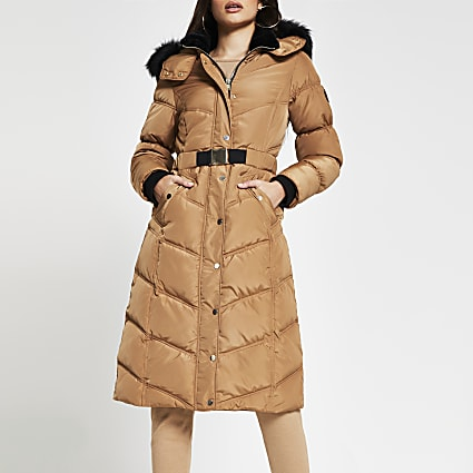 Camel oversized belted puffer coat