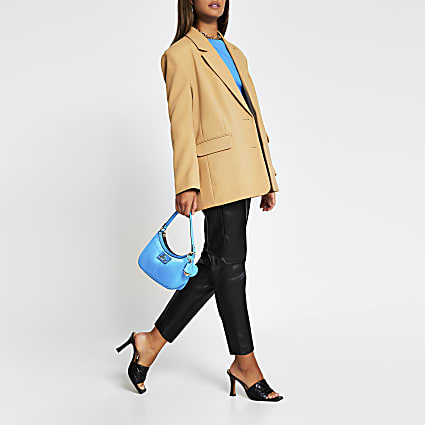 Camel oversized button detail blazer