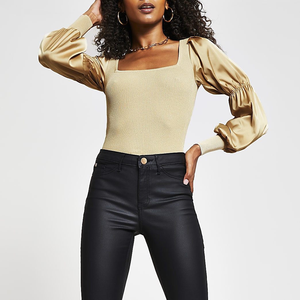 Camel satin puff sleeve fitted top