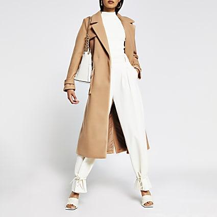 Camel utility long line belted coat