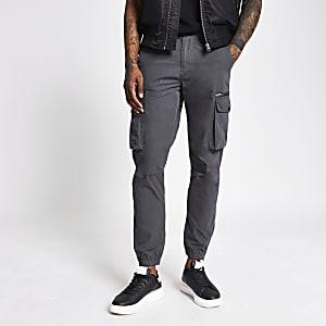 Pantalon cargo couleur charbon