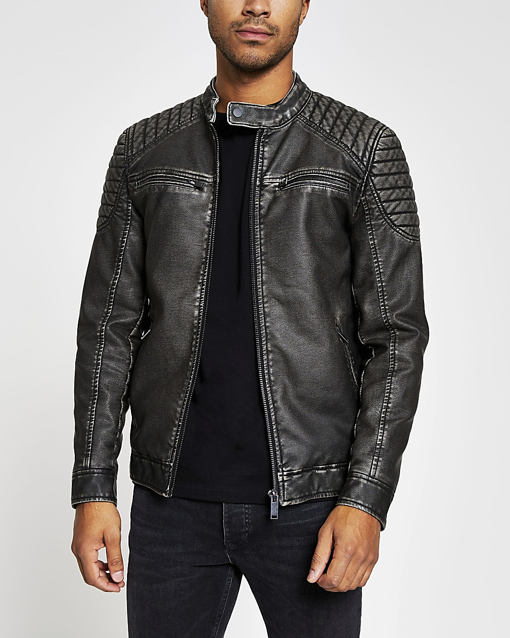 Charcoal grey faux leather quilted jacket