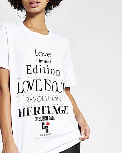 Chelsea Girl white printed easy fit T-shirt