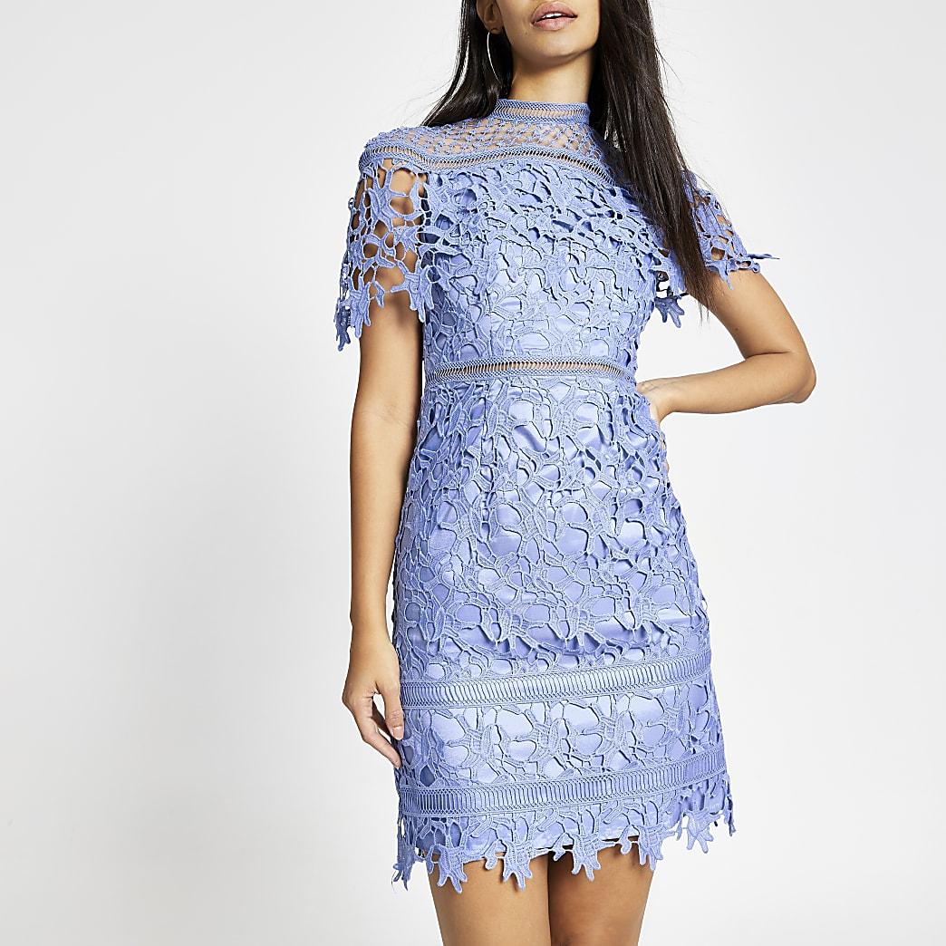 Chi Chi London blue lace Willow dress