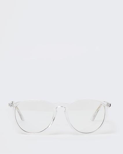 Clear frame blue light lens glasses