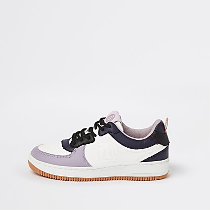 Colour block RI branded lace-up trainers
