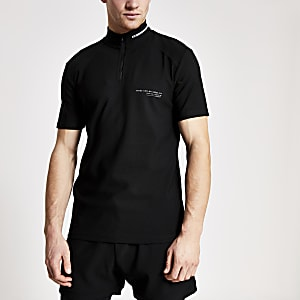 Concept black funnel neck slim fit polo