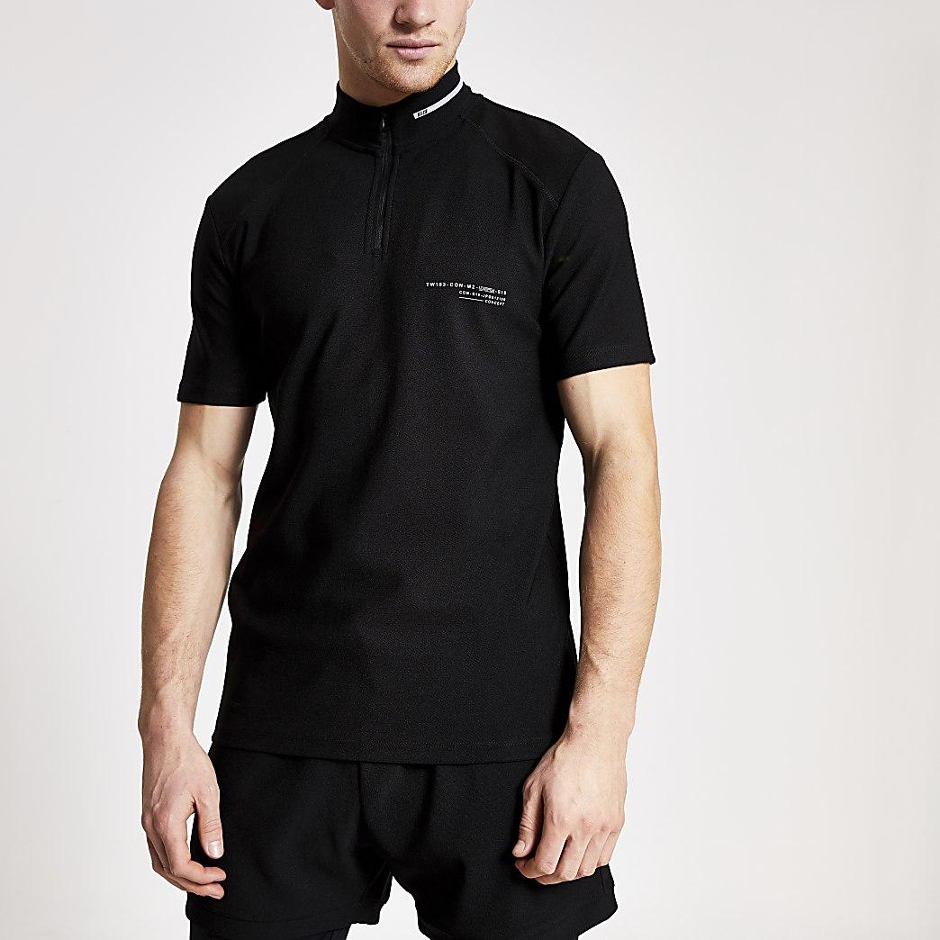Concept - Zwart slim-fit poloshirt met trechterhals