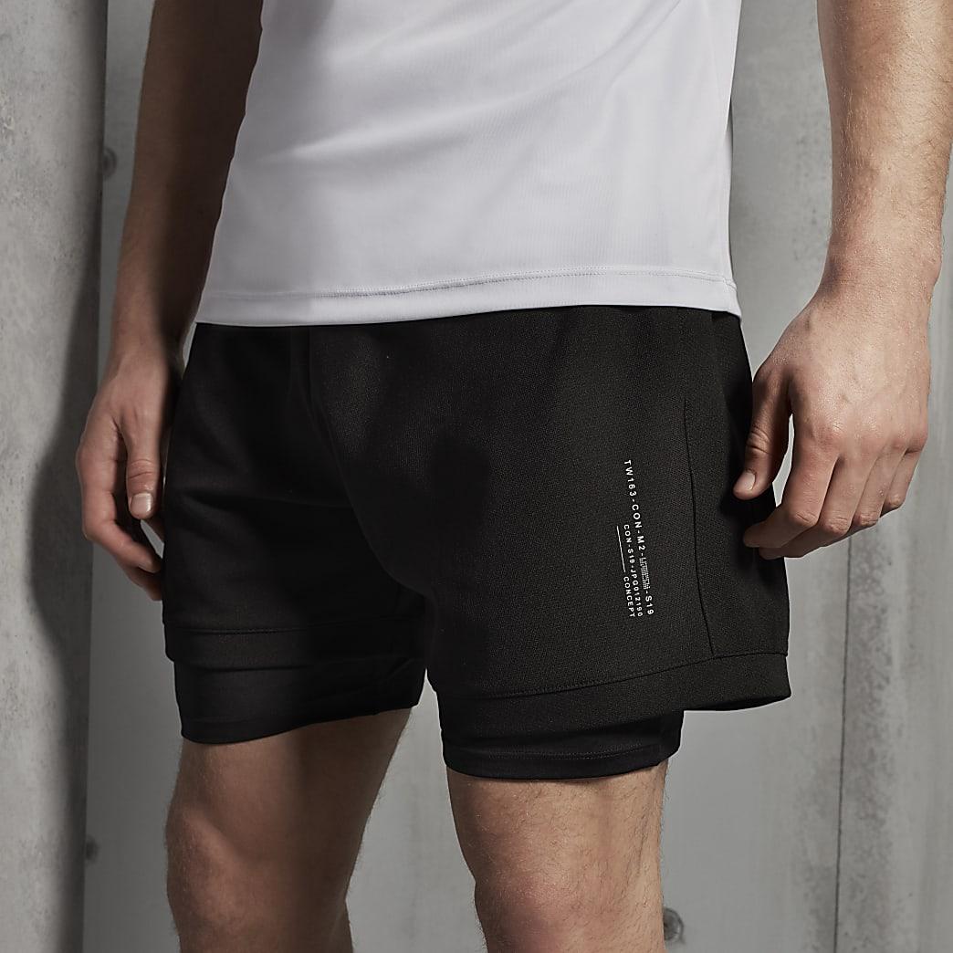 Concept - Zwarte regular-fit shorts met mesh