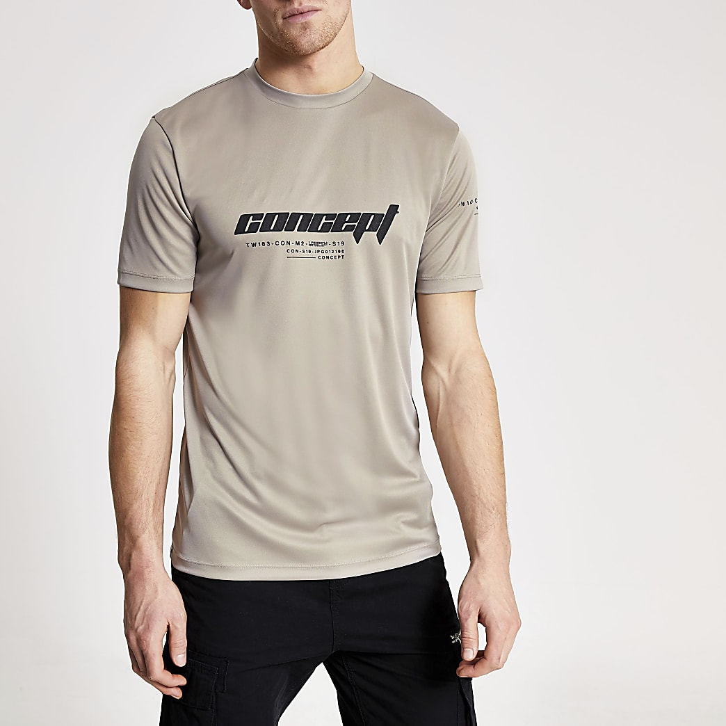 Concept - Kiezelkleurig slim-fit Active T-shirt