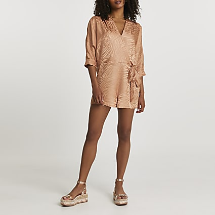 Copper long sleeve tie front playsuit