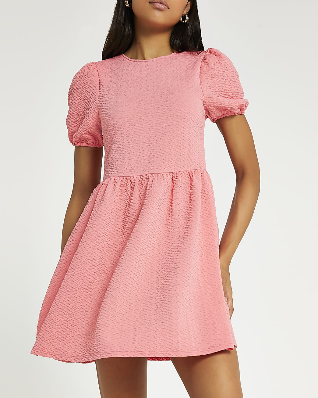 Coral bow detail mini dress