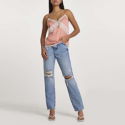 Coral contrast lace insert cami top