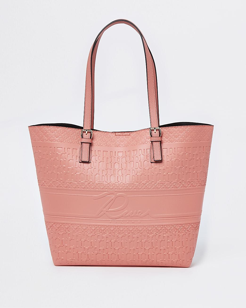 Coral embossed shopper bag