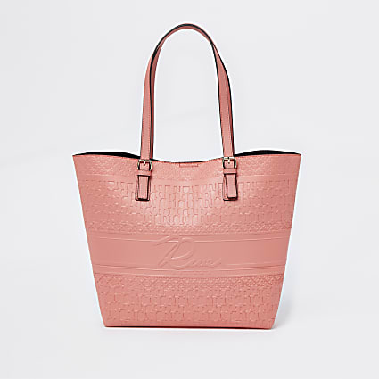 Coral embossed shopper bag