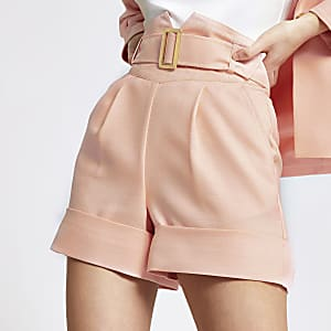 Coral high corset belted waist shorts