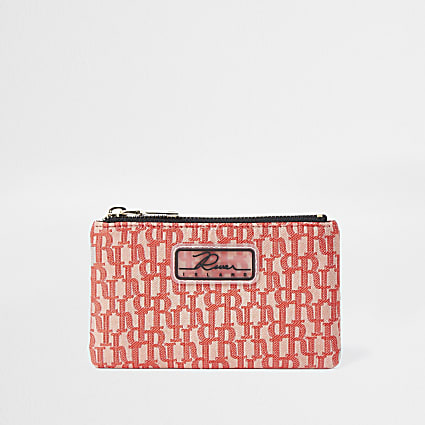 Coral jacquard mini zip pouch purse