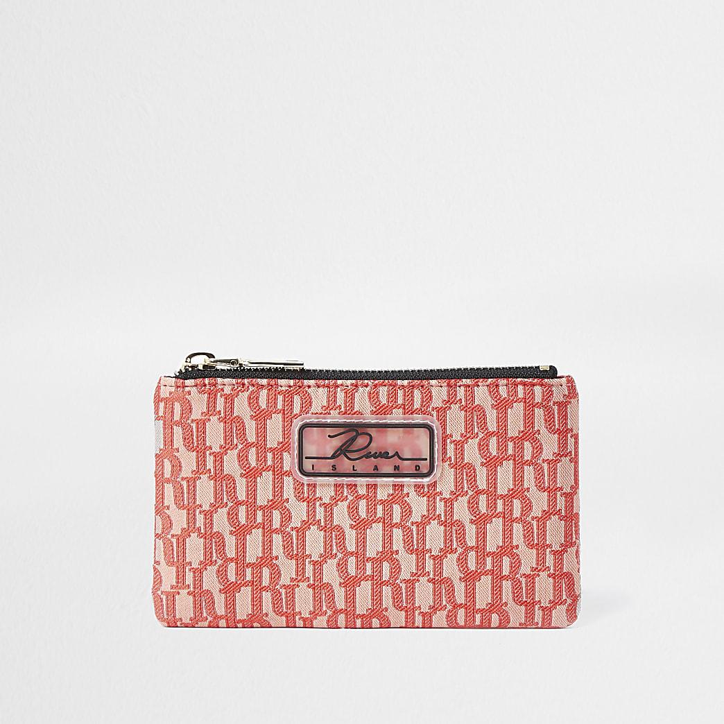 Coral jacquard mini zip pouch purse