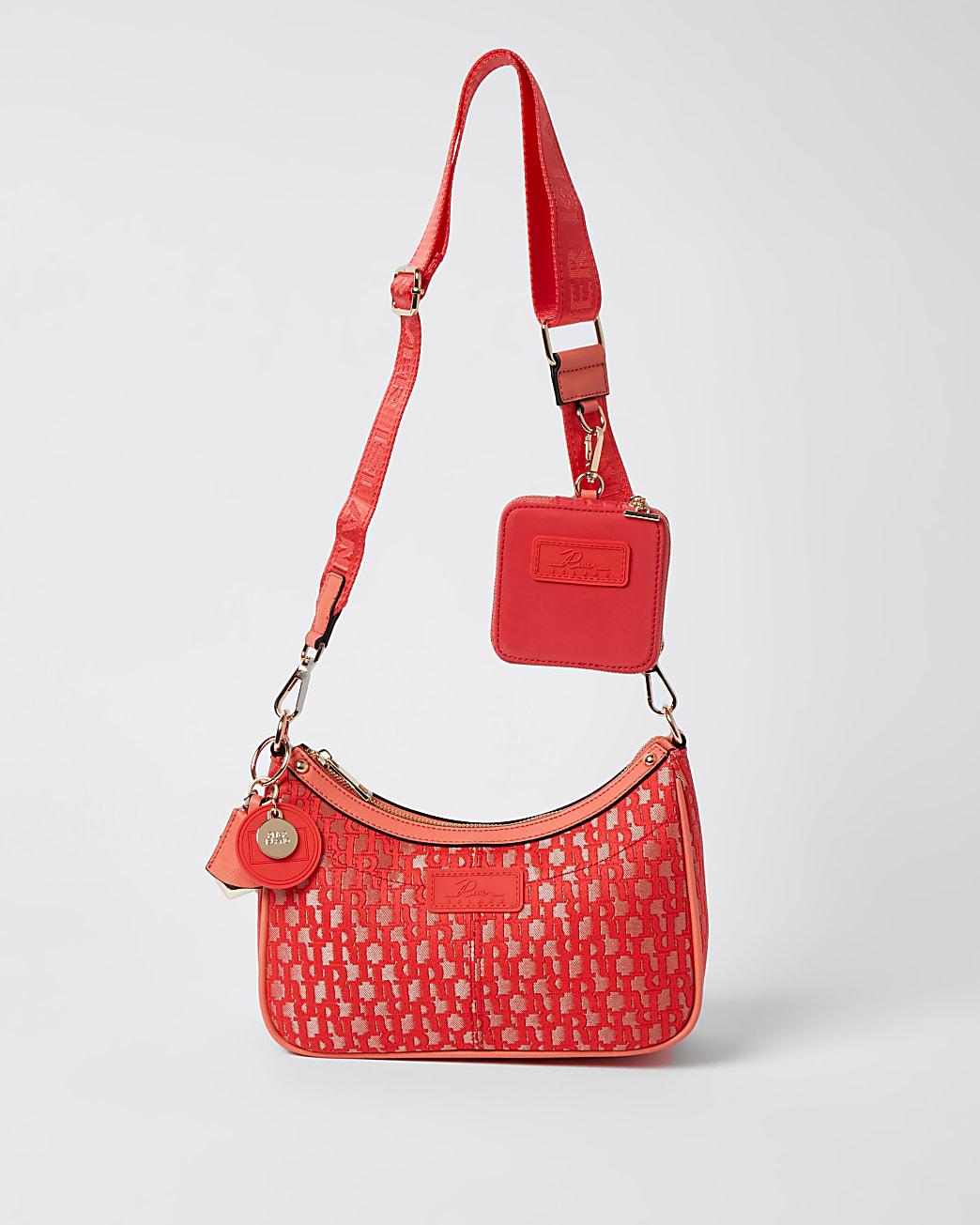 Coral jacquard RI cross body bag and pochette