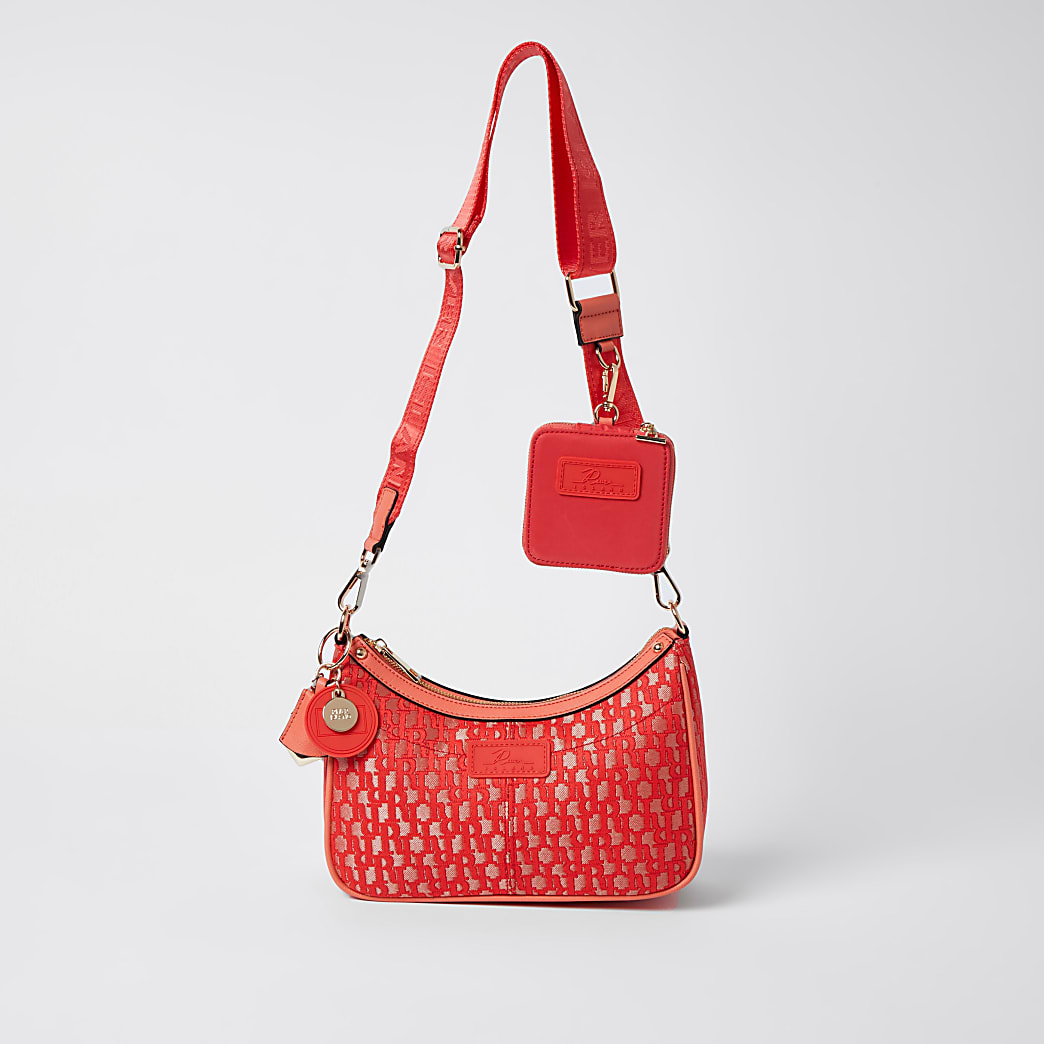 Coral jacquard RI cross body bag and pochette