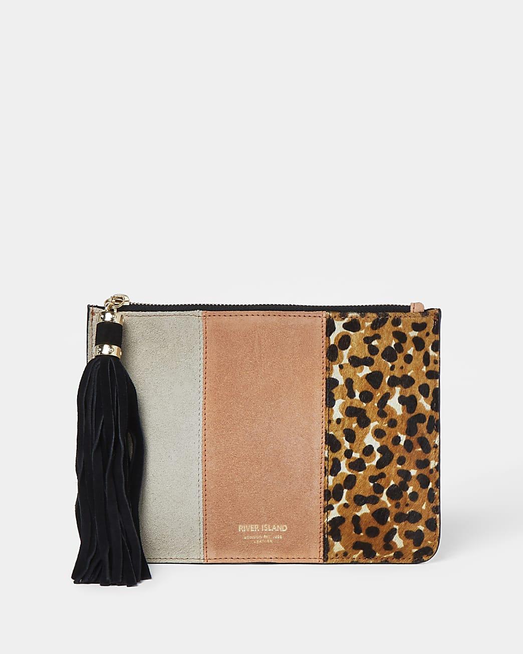 Coral leopard mix pochette bag