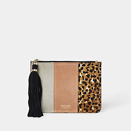 Coral leopard mix pochette bag