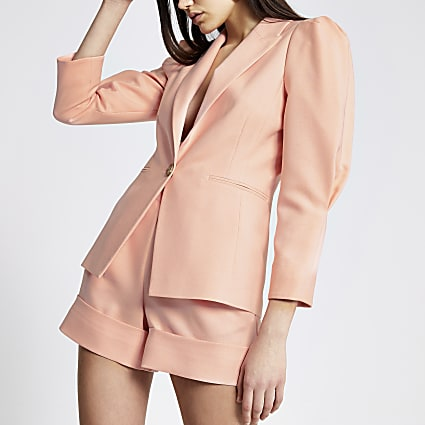 Coral long puff sleeve blazer