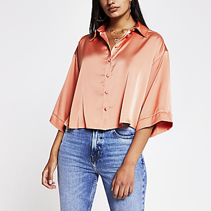 Coral luxe boxy shirt