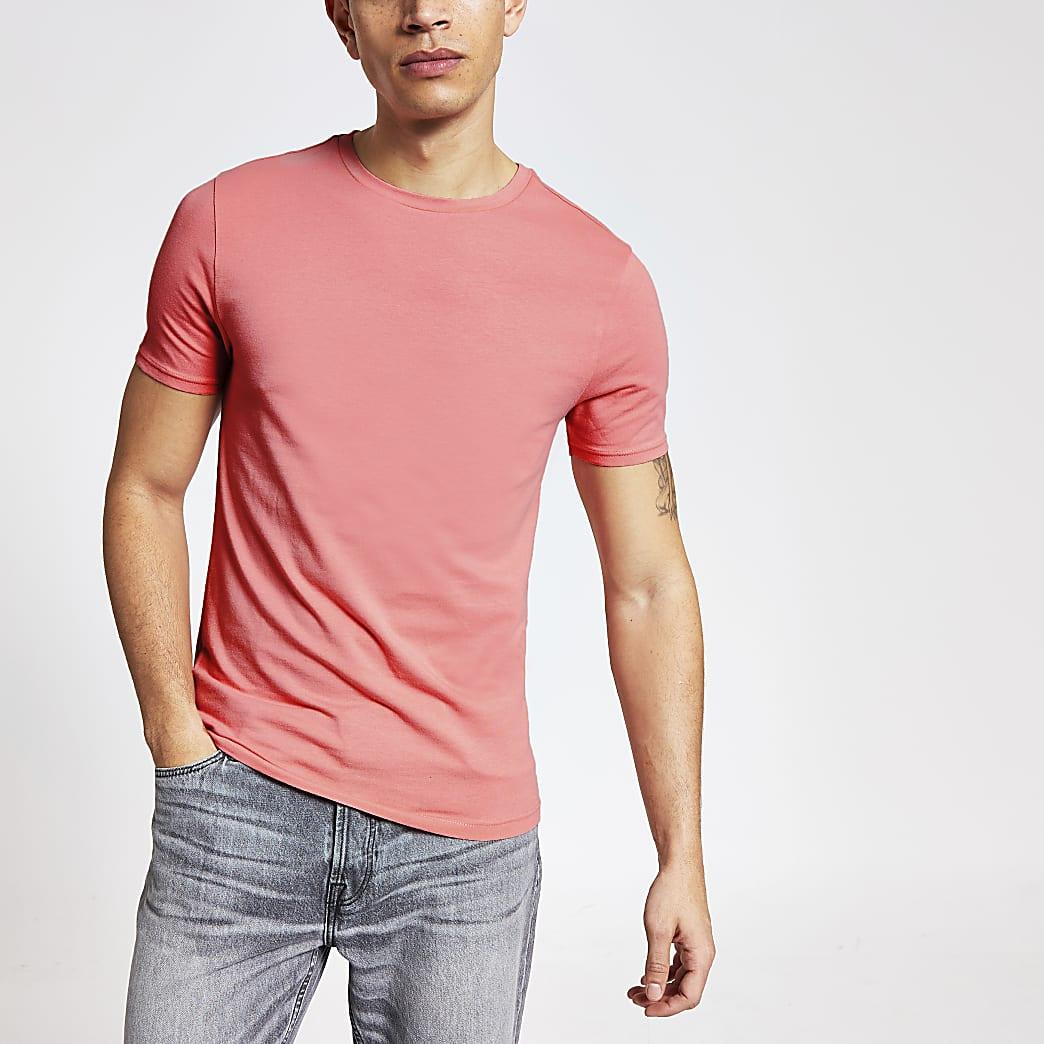 Koraalrood muscle-fit T-shirt met korte mouwen