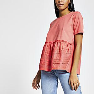 Koraalkleurig geplooid gesmokt poplin T-shirt
