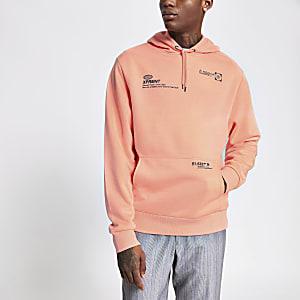 Koraalkleurige regular fit hoodie met print