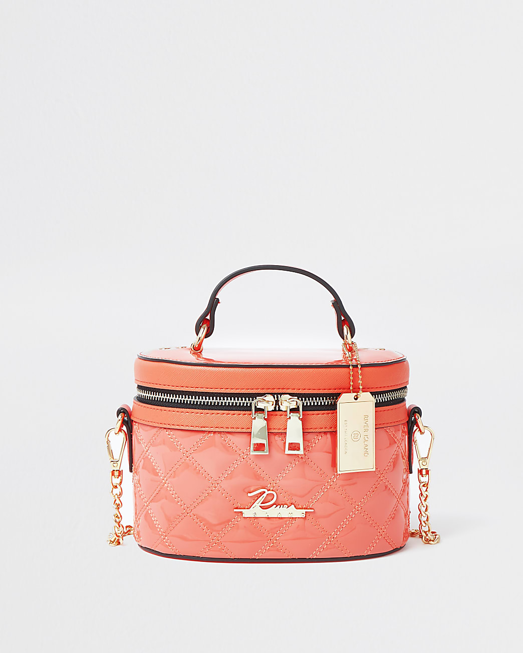 Coral quilted vanity cross body bag