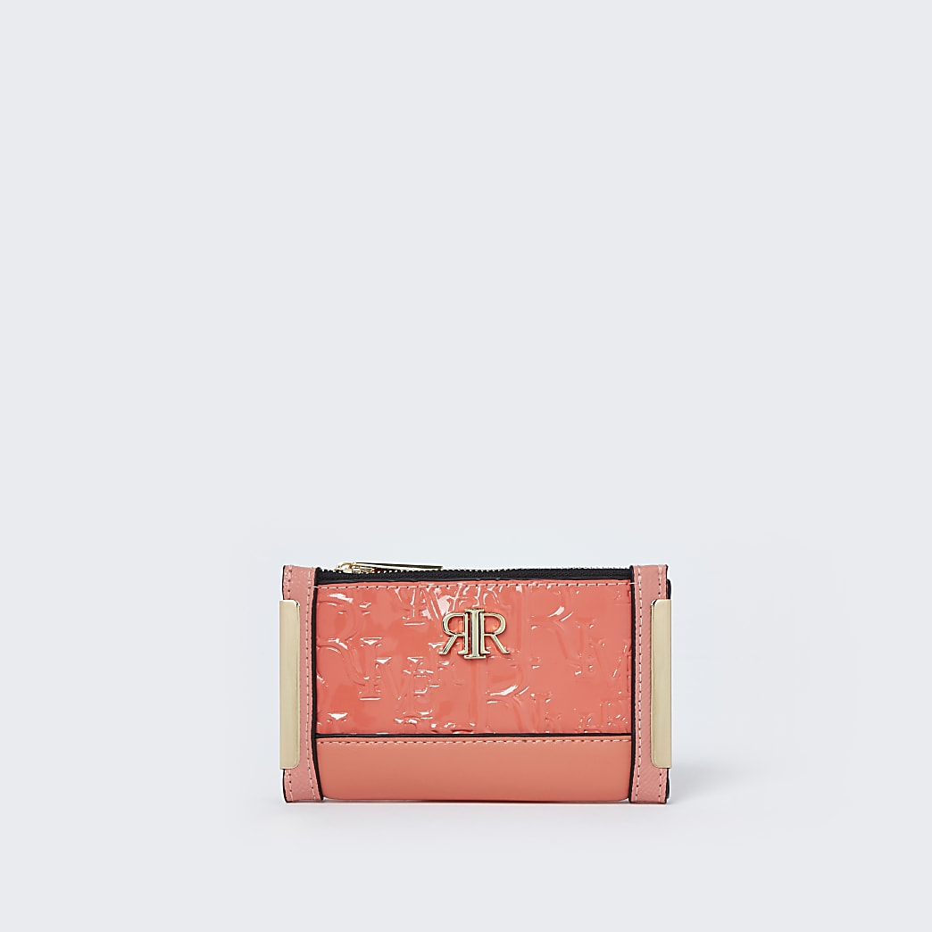 Coral RI embossed mini foldout purse