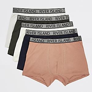 Set van 5 koraalkleurige strakke boxers met metallic RI-tailleband