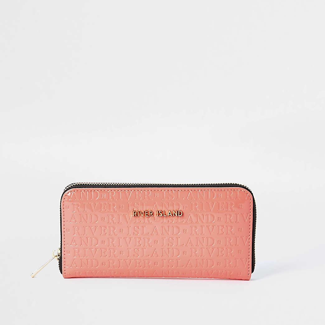 Coral 'river' embossed ziparound purse