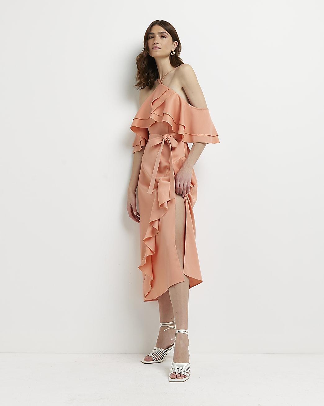 Coral ruffled cold shoulder midi dress